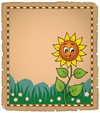 Parchment with happy sunflower