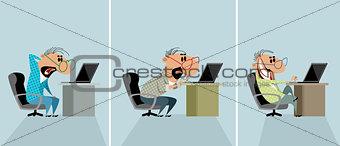 Three men at a computer