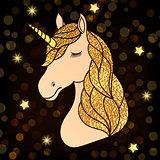 unicorn with golden hair