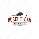 vintage muscle car garage logo. vector illustration