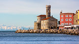 Old Church on the Pier in Piran, Slovenia