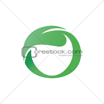Green vector leaf shaped circle letter o