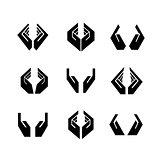 Nine black vector hands in different shapes