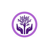 Purple vector tree with hands in circle