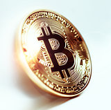 Bitcoin coin photo close-up. Crypto currency, blockchain technology