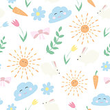 Vector floral pattern in doodle style with flowers and leaves. spring background