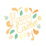 Happy Easter greeting card with flowers and eggs elements composition. vector