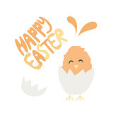 Happy Easter hand written font - baby chiken hatched from an egg - greeting card