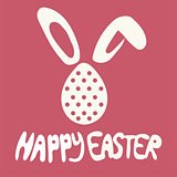 Happy Easter greeting card with rabbit, bunny and text on red background