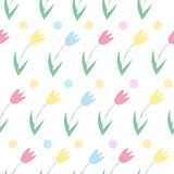 Seamless background from spring flowers. Pattern of tulips