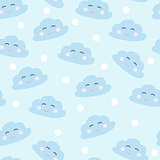 seamless smiling sleeping clouds vector illustration