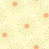 Cartoon sun pattern - hand drawn doodle sun. Cute colorful Seamless vector