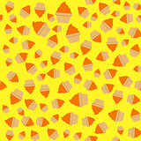 Yellow orange cream cupcake seamless pattern