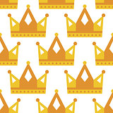 Seamless gold white crown pattern background