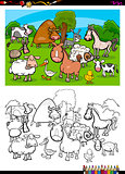 cute farm animals characters group color book
