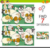find differences with sheep farm animal characters