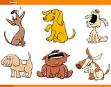 funny comic dogs cartoon characters set