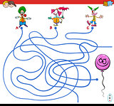 paths maze game with clowns and balloon