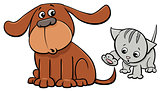 puppy and kitten characters cartoon illustration