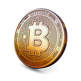Bitcoin - Cryptocurrency Coin on White Background. 3D Rendering,