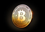 Bitcoin - Cryptocurrency Coin on Black Background. 3D Rendering,