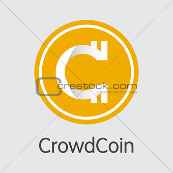 Crowdcoin Crypto Currency Coin. Vector Element of CRC.