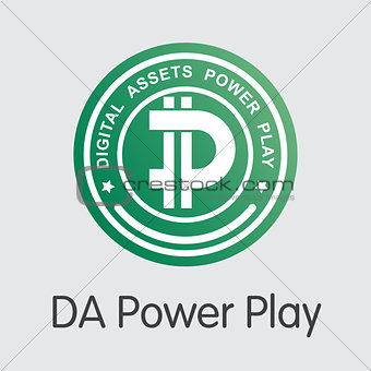 DA Power Play Cryptographic Currency - Vector Coin Illustration.