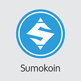 Sumokoin Blockchain Cryptocurrency - Vector Coin Image.