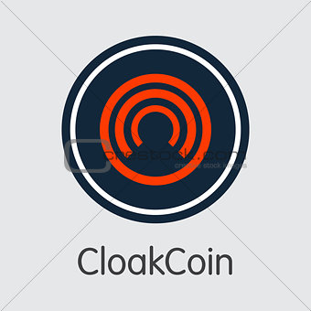 Cloakcoin Virtual Currency - Vector Sign Icon.