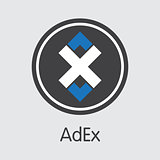 Adex Digital Currency. Vector ADX Coin Symbol.