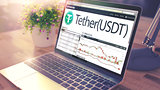 TETHER on the Laptop Screen. Cryptocurrency Concept. 3d