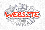 Website - Cartoon Red Word. Business Concept.