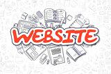 Website - Cartoon Red Word. Business Concept.