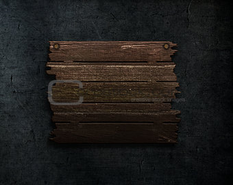 3D old wood sign on a grunge stone texture background