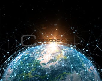 3D global communications network illustration