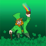 Leprechaun with treasure green background