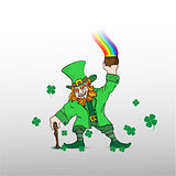 Leprechaun with treasure white background