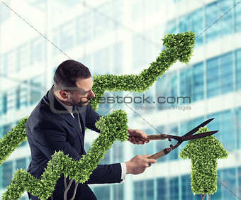 Businessman that cuts and adjusts a plant shaped like an arrow stats. Concept of startup company . 3D Rendering