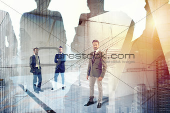 Businessmen that work together in office. Concept of teamwork and partnership