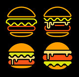 Burger abstract outline vector logo set template, fast food isolated neon line art stylized icon collection, unusual illustration on black background