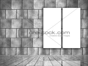 3D grunge interior with blank canvases hanging on the wall