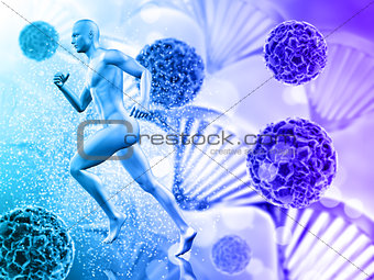 3D medical background with male figure running on virus cells