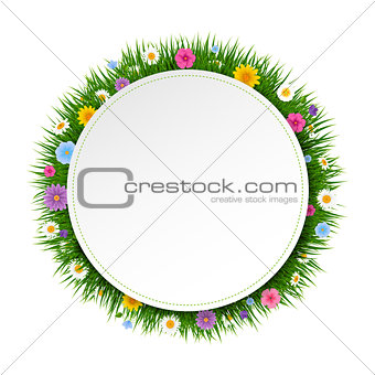 Poster Ball With Grass And Flowers White Background