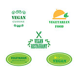 Set of labels company vegan vegetarian healthy food.
