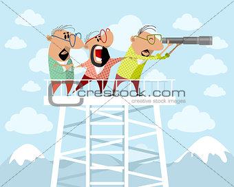 Three men on a watchtower
