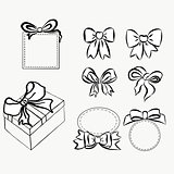 Sketch gift bows. Hand drawn graphic elements for your design. set bows and ribbons to decorate your text and postcards, graphic outline drawing