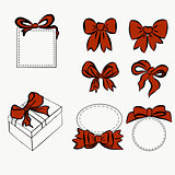 red ribbon set. bow for decorating various item, vintage bow and boxes, gift and decoration. Sketch Hand drawn graphic elements for your design.