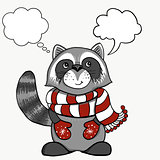 Vintage Christmas cards. Cute smiling raccoon in a red white stripe skarf. Winter holidays vector illustration.