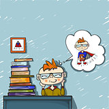 cute boy red hair dreams and smile behind a pile of books, coloured drawing hand paint, little dreamer, superhero, positive emotion, school day