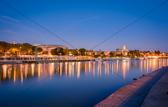 Blue hour view of Seville from Triana quarter.